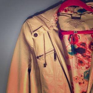 Small Cream (Beige) JouJoe Faux Leather Jacket